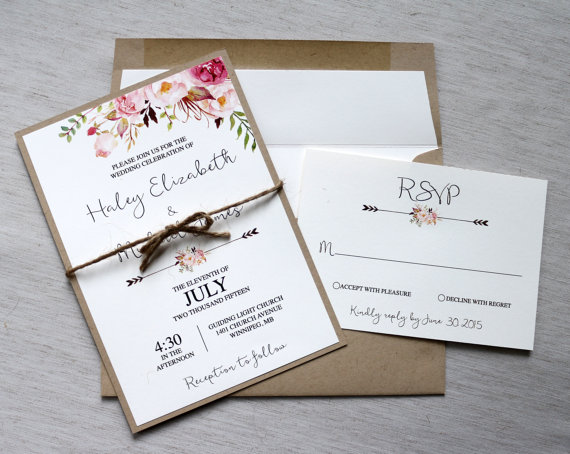 Floral Wedding Invitation, Rustic Wedding Invitation, Modern ...