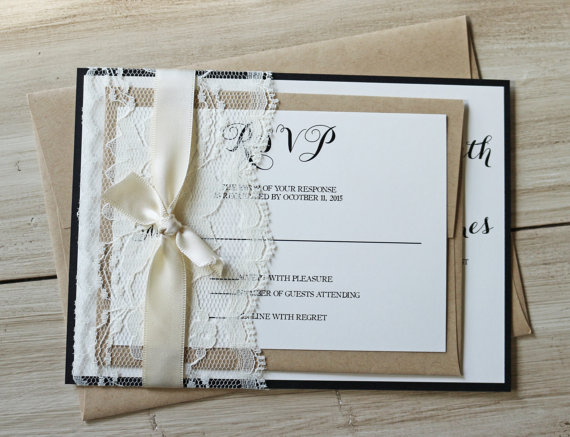 Rustic Wedding Invitation Lace Wedding Invitation Classic