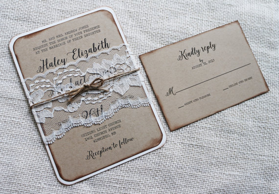 rustic wedding invitation vintage lace wedding invitation kraft wedding invitation barn wedding country wedding rustic elegant - Vintage Lace Wedding Invitations