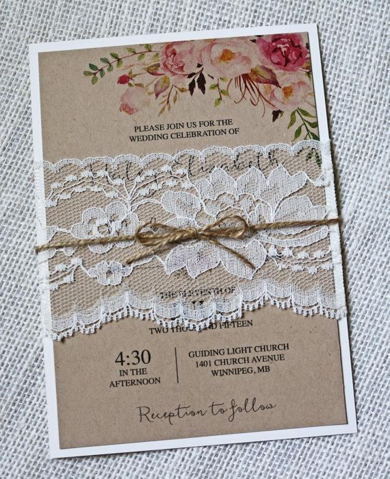 Boho Wedding Invitation, Floral Wedding Invitation, Rustic Lace Wedding  Invites, Shabby Chic Wedding Invitation, Kraft Wedding Invitation