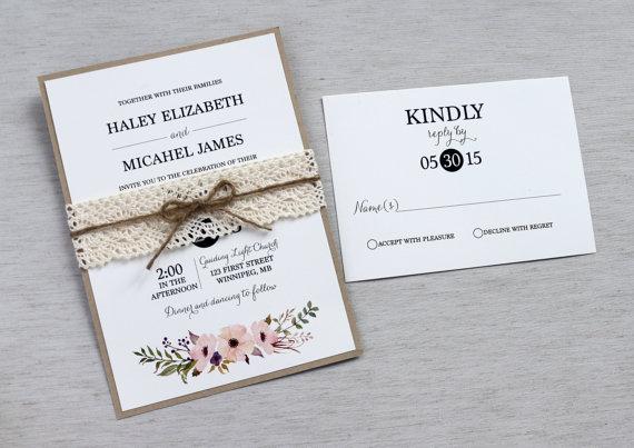 Vintage Lace Wedding Invitation Rustic Floral Wedding Invitation – Modern Rustic Wedding Invitations