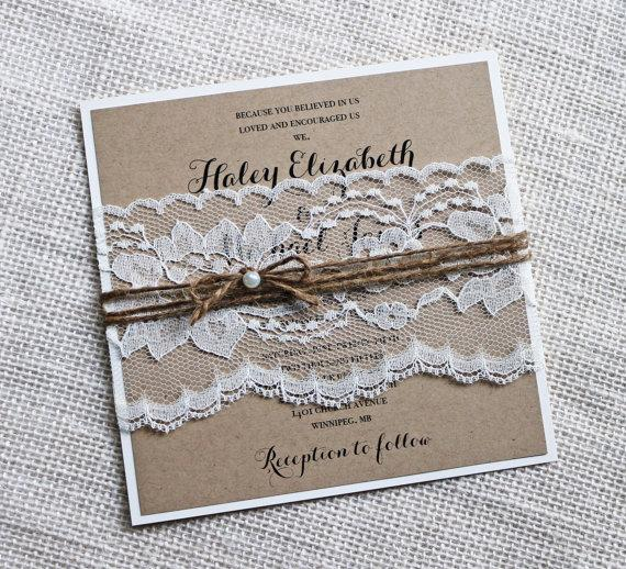 Rustic Wedding Invitations Lace Wedding Invitation Kraft Elegant