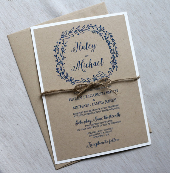 Rustic Wedding Invitation Modern Wedding Invitation Kraft Wedding