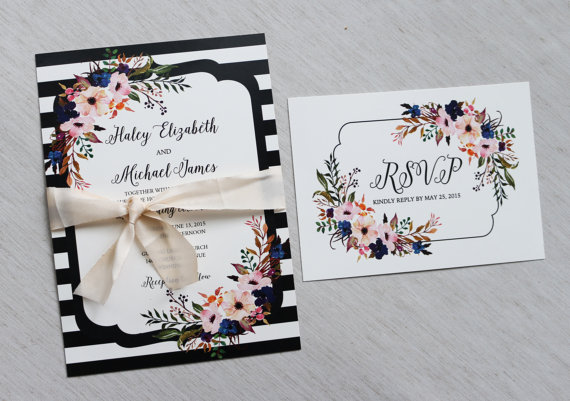 Modern Wedding Invitation Floral Wedding Invitation Vintage – Modern Rustic Wedding Invitations
