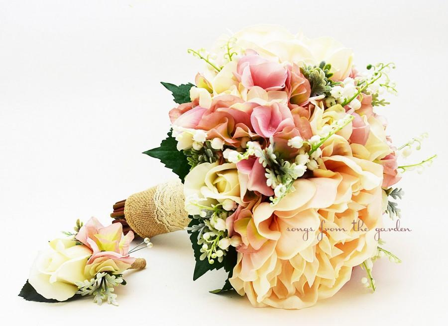Rustic Romantic Bridal Bouquet Lily Of The Valley Peonies Roses ...