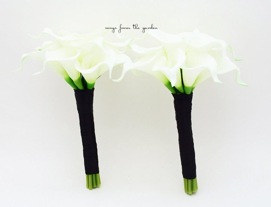 Свадьба - Wedding Flower Package Real Touch Calla Lily Bridesmaids Bouquets Choose Your Wedding Colors