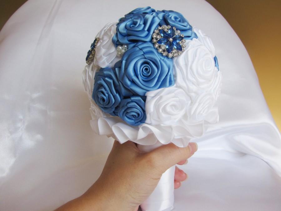 Wedding - Bridal bouquet available now wedding periwinkle blue white satin bouquet bride bouquet marriage roses double satin white blue bouquet