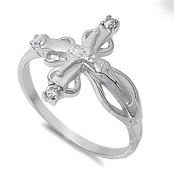Mariage - Jesus Crucified Sideways Cross Ring Solid 925 Sterling Silver Round Clear White Diamond CZ Jesus Crucified Sideways Cross Ring Religious