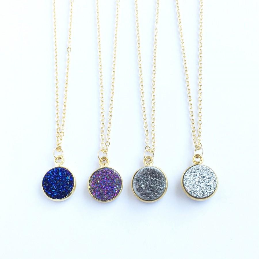 Wedding - Druzy Necklace, Purple Druzy, Silver Druzy, Black Druzy, Geode Necklace, Crystal Necklace, Healing Crystals, Sparkle Necklace