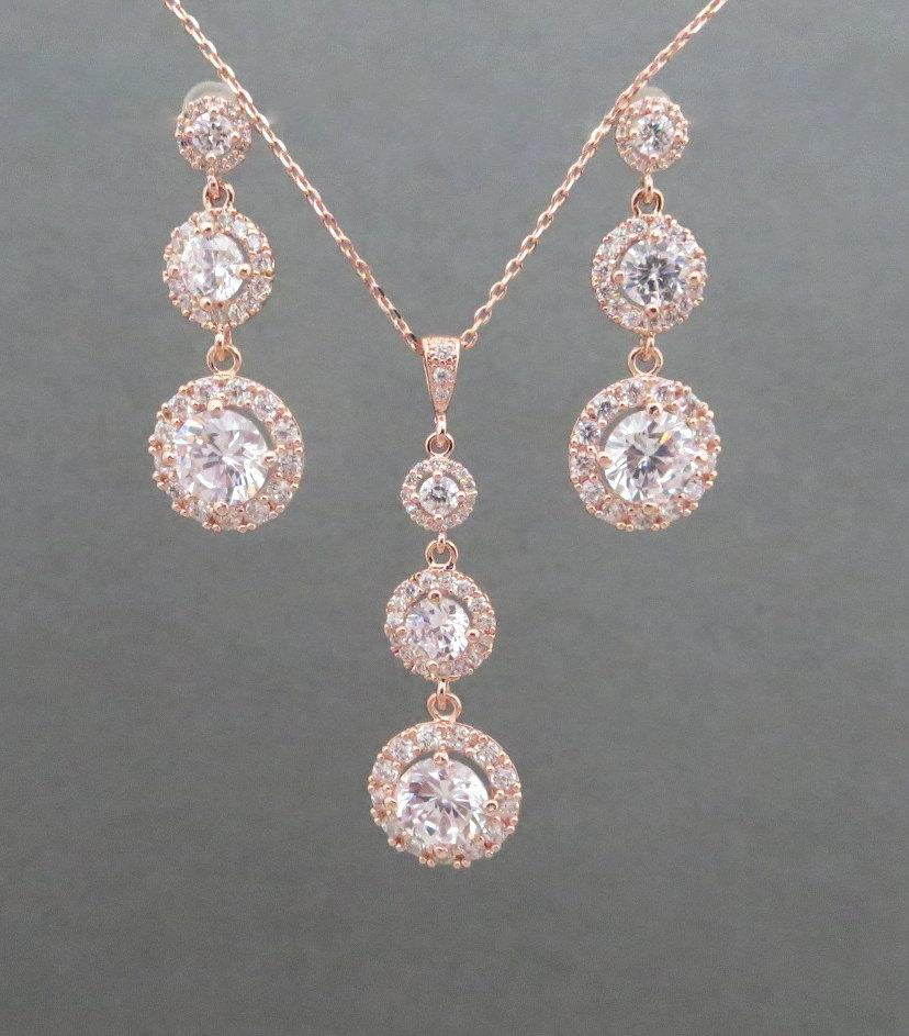 Rose Gold Bridal Jewelry Necklace Earrings Wedding Crystal Set Bridesmaid