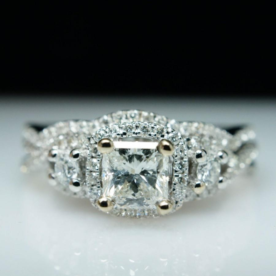 Mariage - 1.03cttw Square Modified Brilliant Cut Diamond Engagement Ring 14k White Gold w/ Wedding Band - (Complete Bridal Wedding Set)