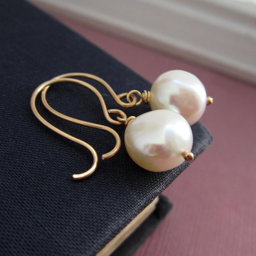 Свадьба - Wedding jewelry, Pearl earrings, freshwater pearls, nugget pearls, gold earrings, bridesmaid earrings