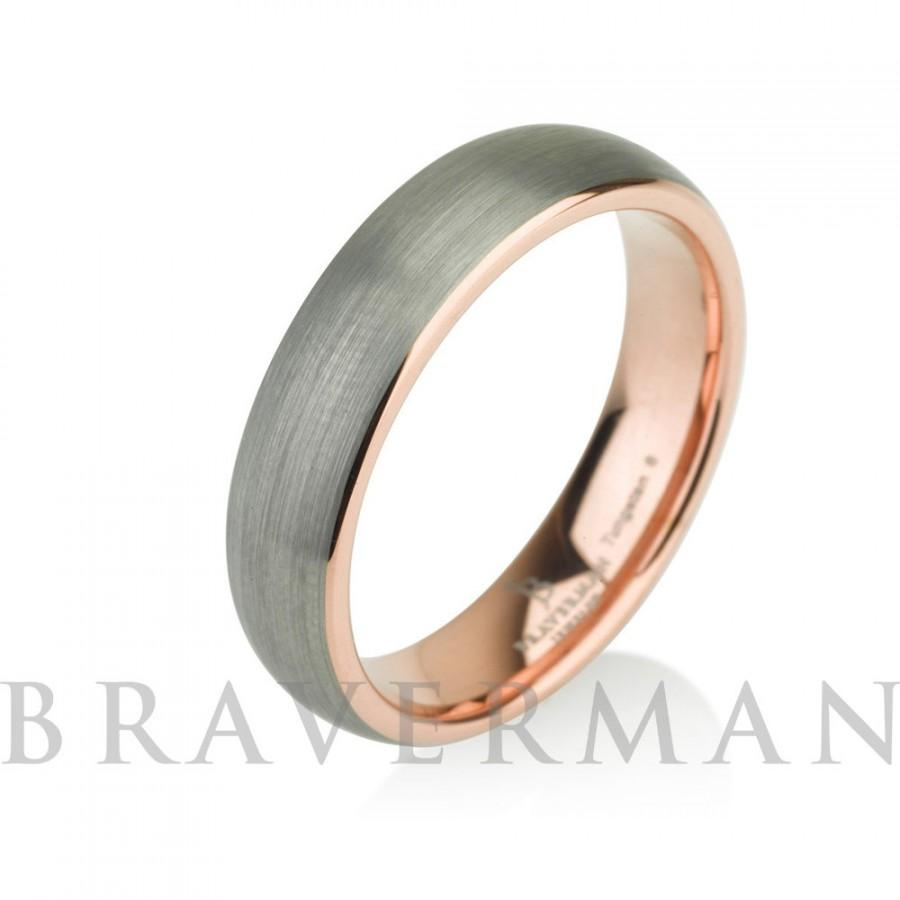 Rose Gold Mens Tungsten Carbide Wedding Band Ring 5mm 14k Rose Gold Plated Do