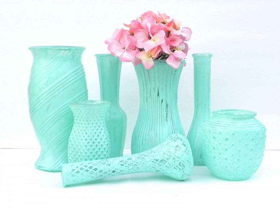 Shabby Chic Vases In Minty Aqua Set Of 7 Vases Vase Collection For Weddings Showers Receptions