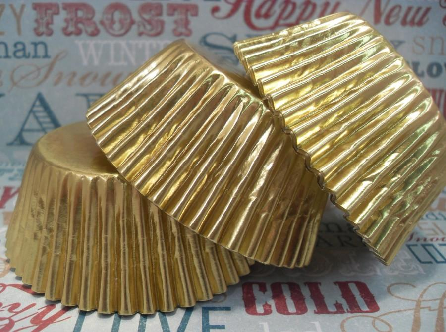 Wedding - 200 Gold Foil Cupcake Liners, Gold Foil Baking Cups, Bulk Gold Liners, Gold Wedding Cupcake Liners, Gold Paper Goods, Greaseproof Liners