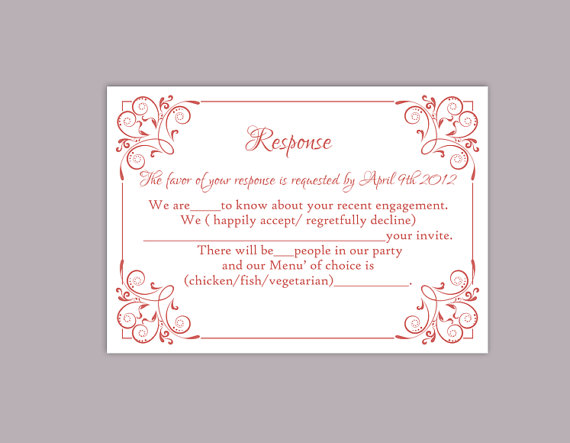 Diy Wedding Rsvp Template Editable Text Word File Printable Cards Wine Red Card