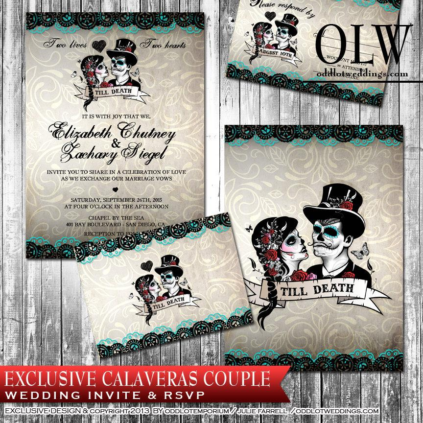 Calaveras Sugar Skull Wedding Invitation And Rsvp Digital