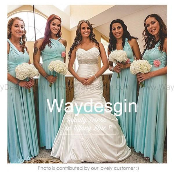 Bridesmaid Dress Infinity Tiffany Blue Floor Length Wrap Convertible Wedding