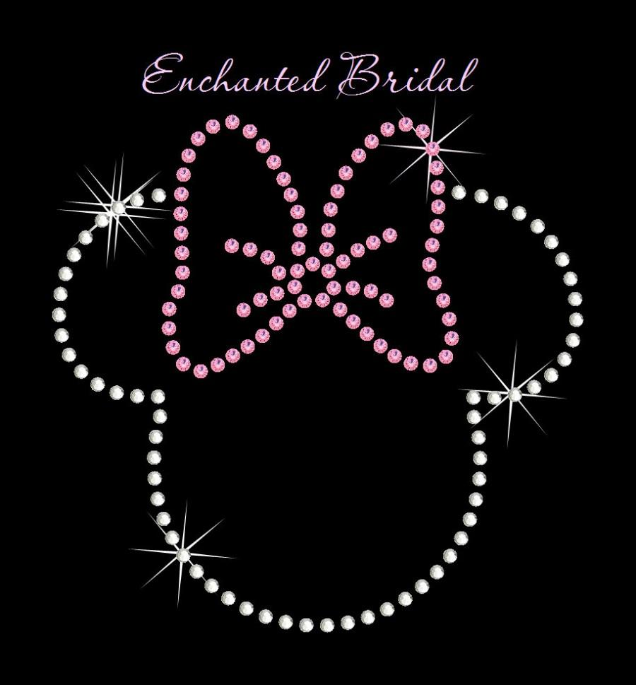 Mariage - Disney Inspired Minnie Mouse With Classic Bow Iron On You Choose Color Rhinestone Transfer DIY