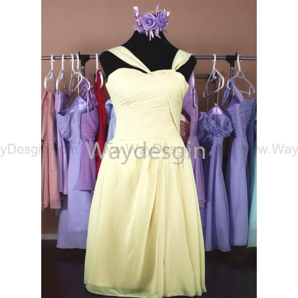 زفاف - Bridesmaid Dresses yellow Chiffon Bridesmaid Dress short Prom Dress party dress