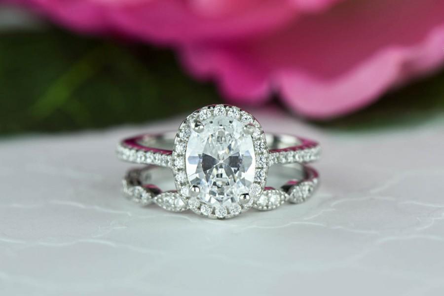 1.5 Ctw Oval Halo Bridal Set, Art Deco Wedding Ring, Man Made ...
