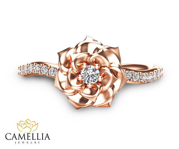 Camellia Flower Ring 14K Rose Gold Diamond Ring Rose Gold Engagement