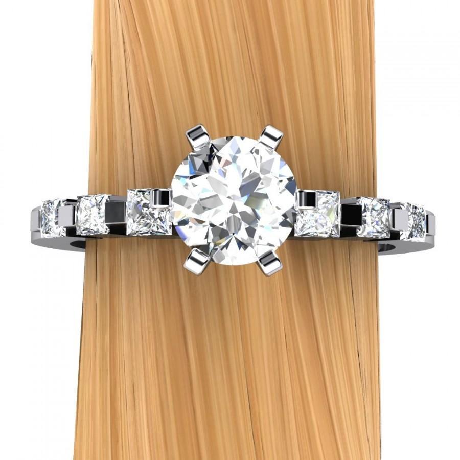 زفاف - Diamond Engagement Ring in Palladium, Half Carat Solitaire SI2, Princess Accented Band - Free Gift Wrapping