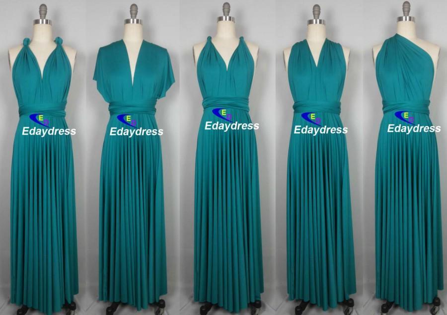 Maxi Full Length Bridesmaid Infinity Convertible Wrap Dress Multiway Long  Dresses Teal Dress 9a4b8b520121
