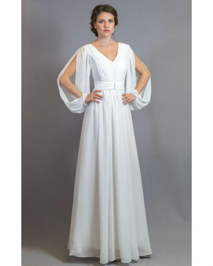 White Dress Bridesmaid Chiffon Evening Dress Maxi Wedding Dress ...