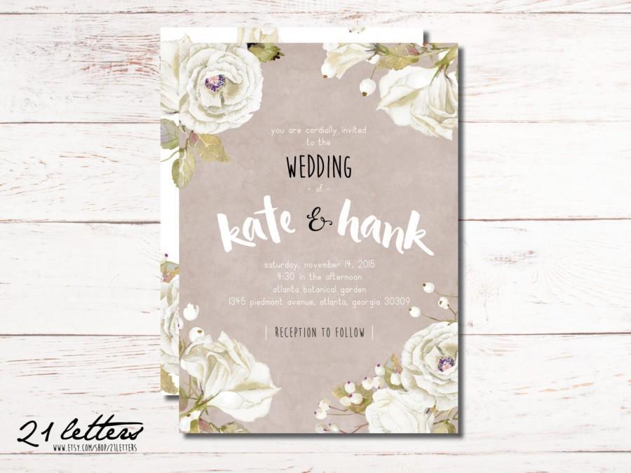 wedding invitation template printable rustic invitation suite