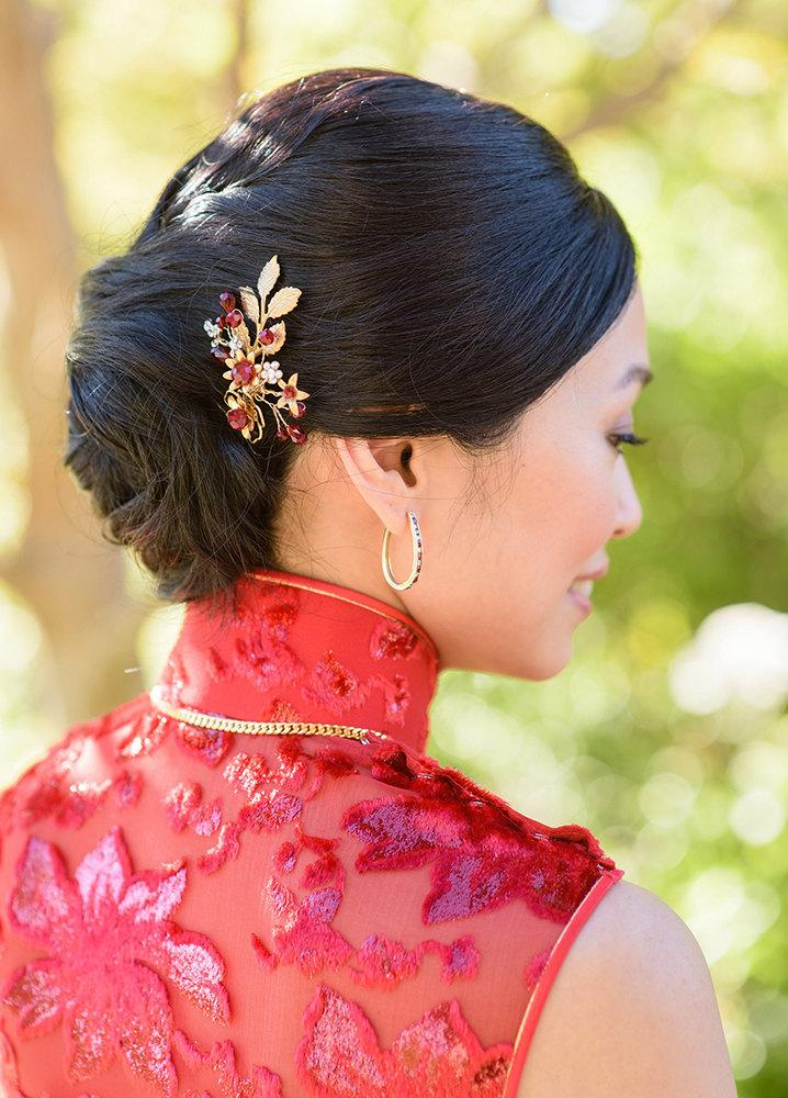 Bridal Hair Pin Red Swarovski Crystals Rhinestones Brass Leaves Flowers Modern Gold Asian Headpiece Chinese Tea Ceremony Wedding Tradition