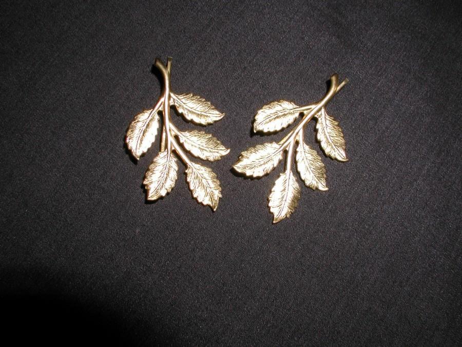 Wedding - Gold Leaf Branch Bridal Bobby Pins, Woodland Pin
