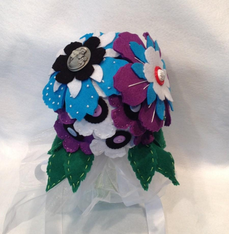Wedding - Free Shipping, Felt Flower Bouquet, Boho Bouquet, Unique Wedding Bouquet, Traditional, Wedding decoration, Special occasions, Happy day