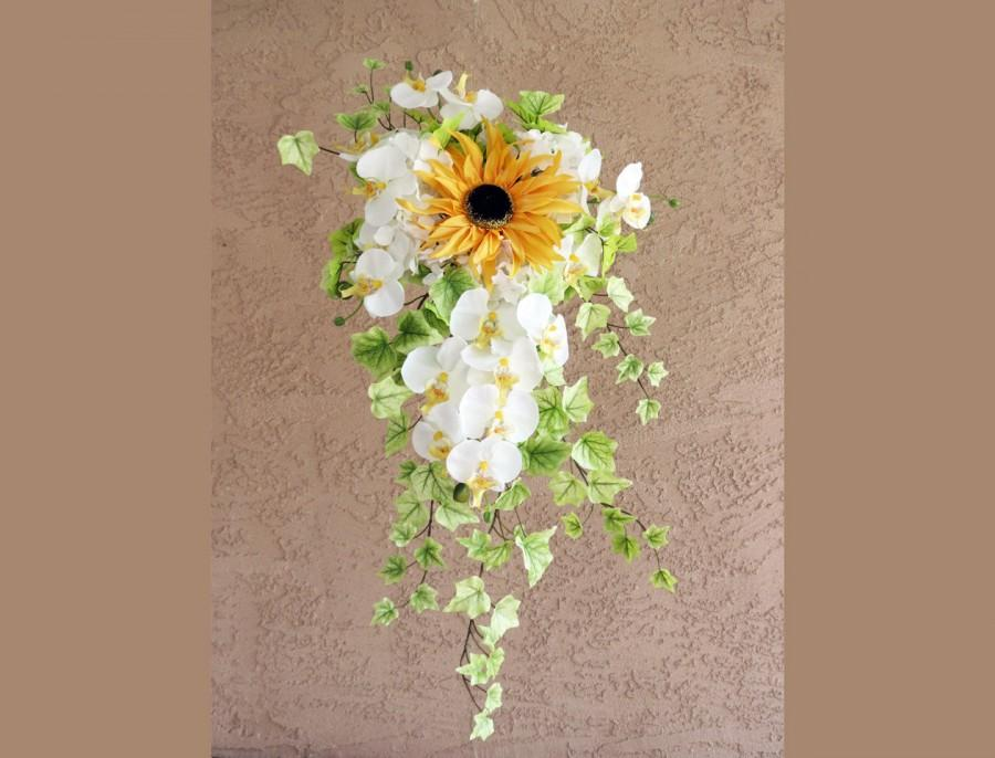 Свадьба - Sunflower Bouquet Orchid Cascading Bridal Bouquet