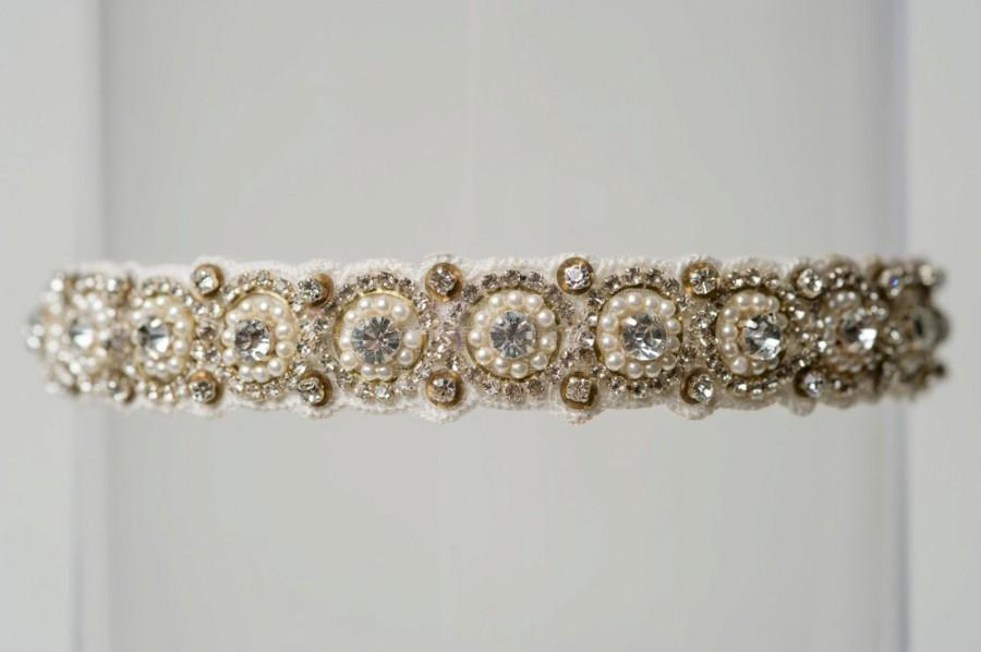 "Wedding - Ivory Beaded Rhinestone Pearl Vintage Wedding Garter ""Lori"""