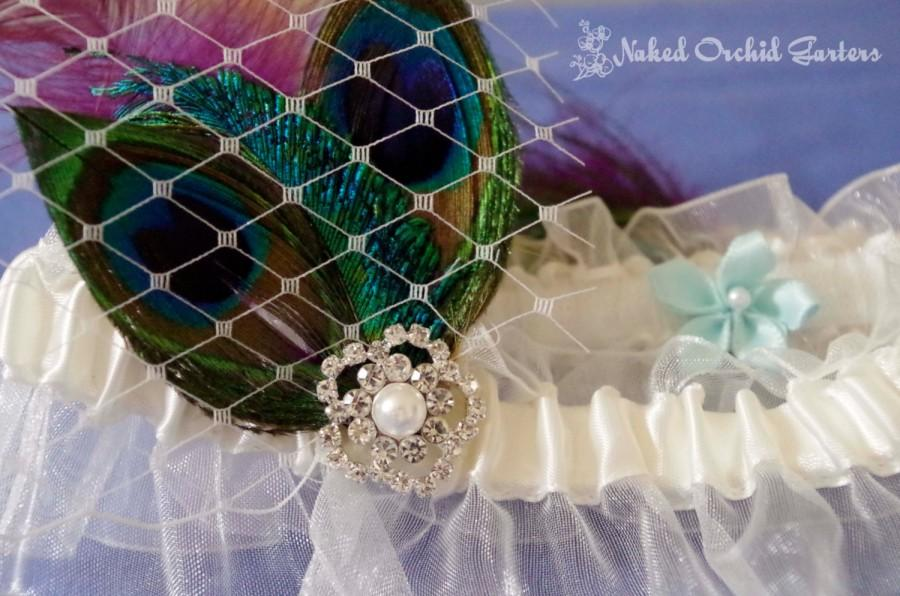 Свадьба - Peacock Wedding Garter Set, Ivory Bridal Garter, Purple Garters, Prom 2015, Plum Garter, Amethyst Garter, Eggplant Garter