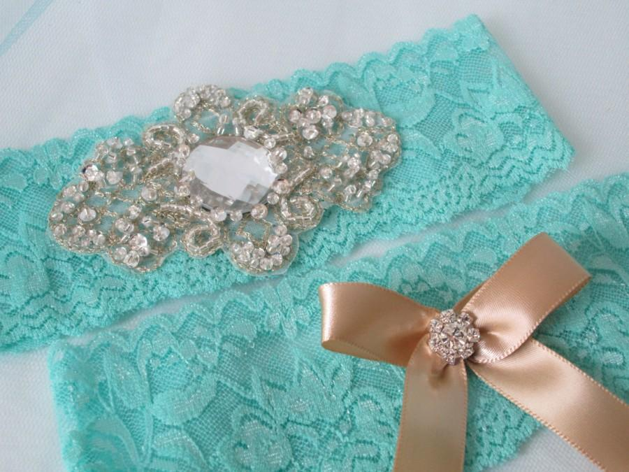 Aqua Blue Teal Wedding Garter Set Lace Champagne Bridal Rustic Vintage Garters Country Southern
