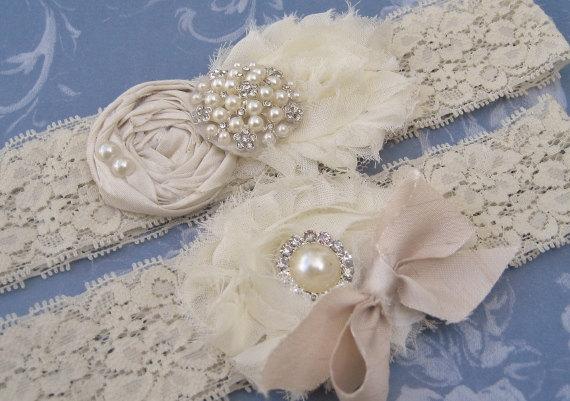 Wedding - Wedding Garter / Vintage Bridal Garter Set Toss Garter included  Ivory with Rhinestones and Pearls  Custom Wedding colors