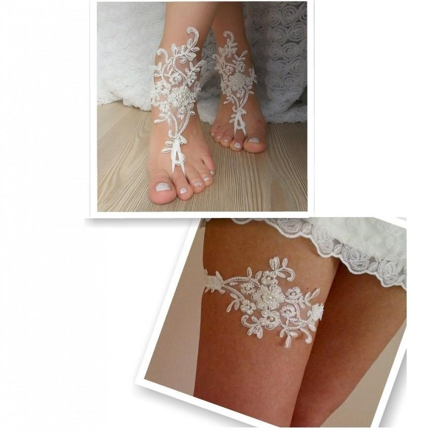 Wedding - Barefoot and garter set   FREE SHIP embroidered sandals, ivory Barefoot and garter, french lace sandals, wedding set ,sexy ,rustic ,bohemian