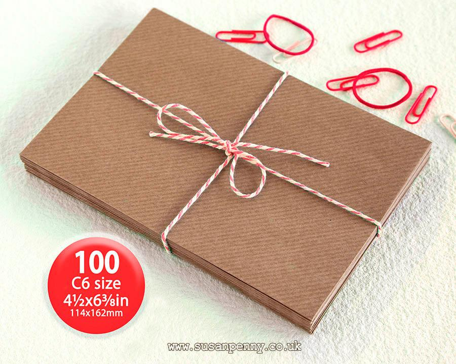 "Wedding - Kraft Envelopes, 100pk, C6 Brown Ribbed Envelopes, 4 1/2 x6 3/8"" Envelopes, Kraft Paper Envelopes C6 -  PSS018"