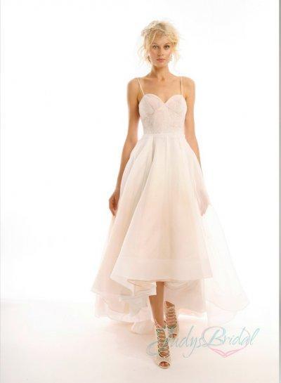 Y Backless High Low Hem Organza Lace Wedding Dress