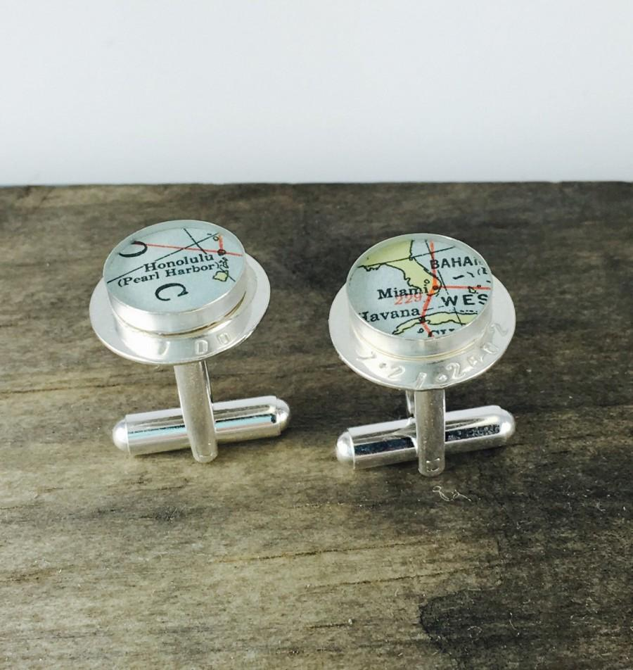 Mariage - Handmade + Custom Hand Stamped Sterling Map Cufflinks
