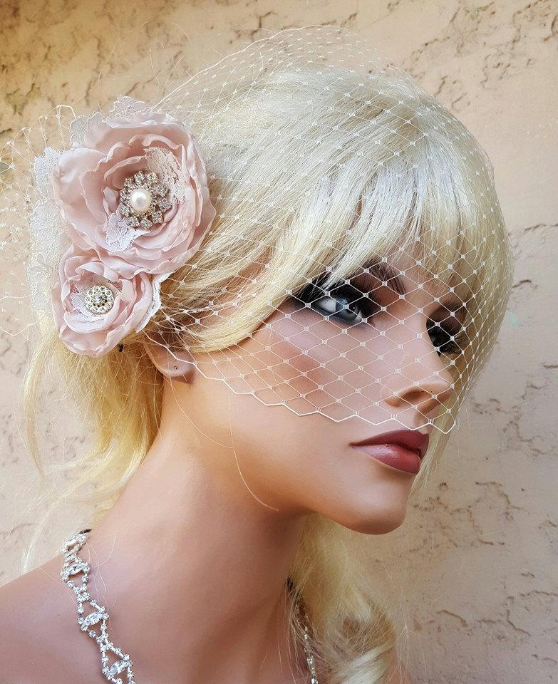 Wedding Hair Accessories Clip ChampagneBridal Comb Accessory Birdcage Veil Bridal Champagne 2pc Set