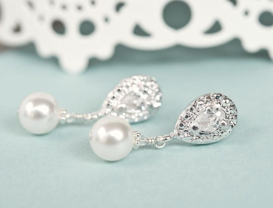 Wedding - Bridal Earrings, Drop Pearl Bridal Earrings, Wedding Earrings, Bridal Jewelry