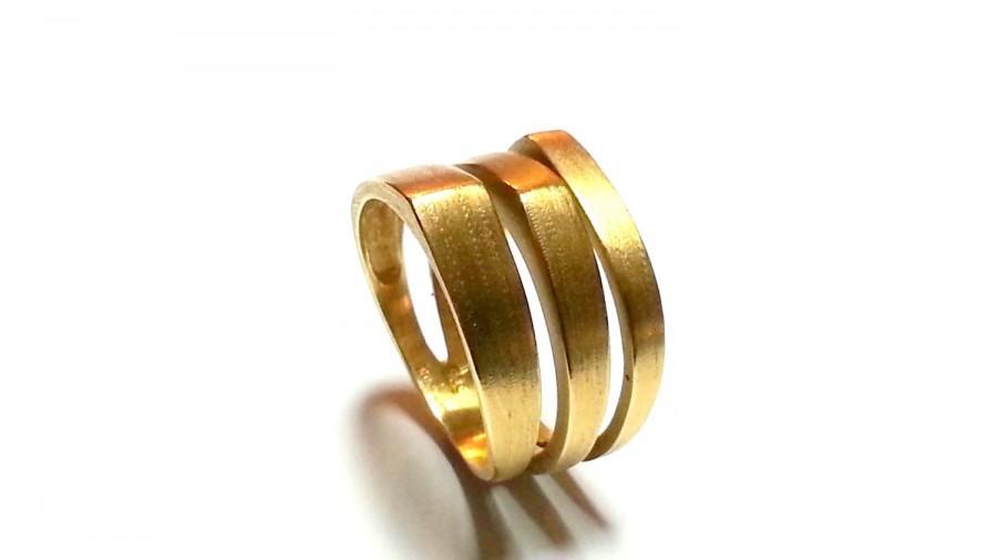 Unique Womens Wedding Band Wide Wedding Band Gold Geometric Gold
