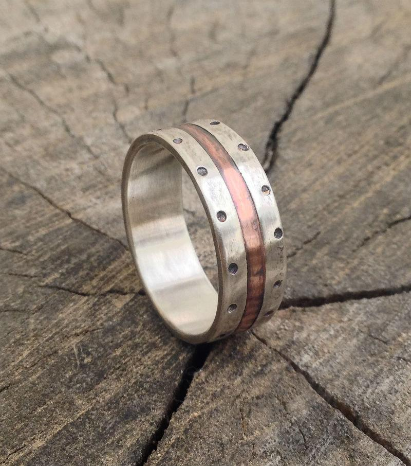 Свадьба - Silver copper wedding band ring, men engagement ring, rustic wedding band ring, silver copper wedding band ring, unique ring, men band ring
