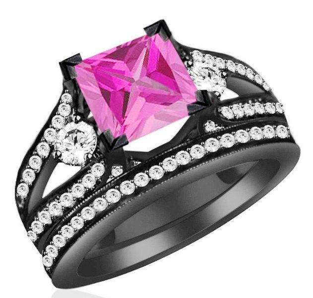 زفاف - 3.50ct Princess Cut Pink Sapphire Engagement Wedding Ring with 92.5 Sterling Silver Free Shipping and free sizing