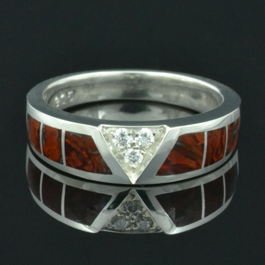 Свадьба - Dinosaur Bone Ring With White Sapphire Accents in Sterling Silver by Hileman Silver Jewelry