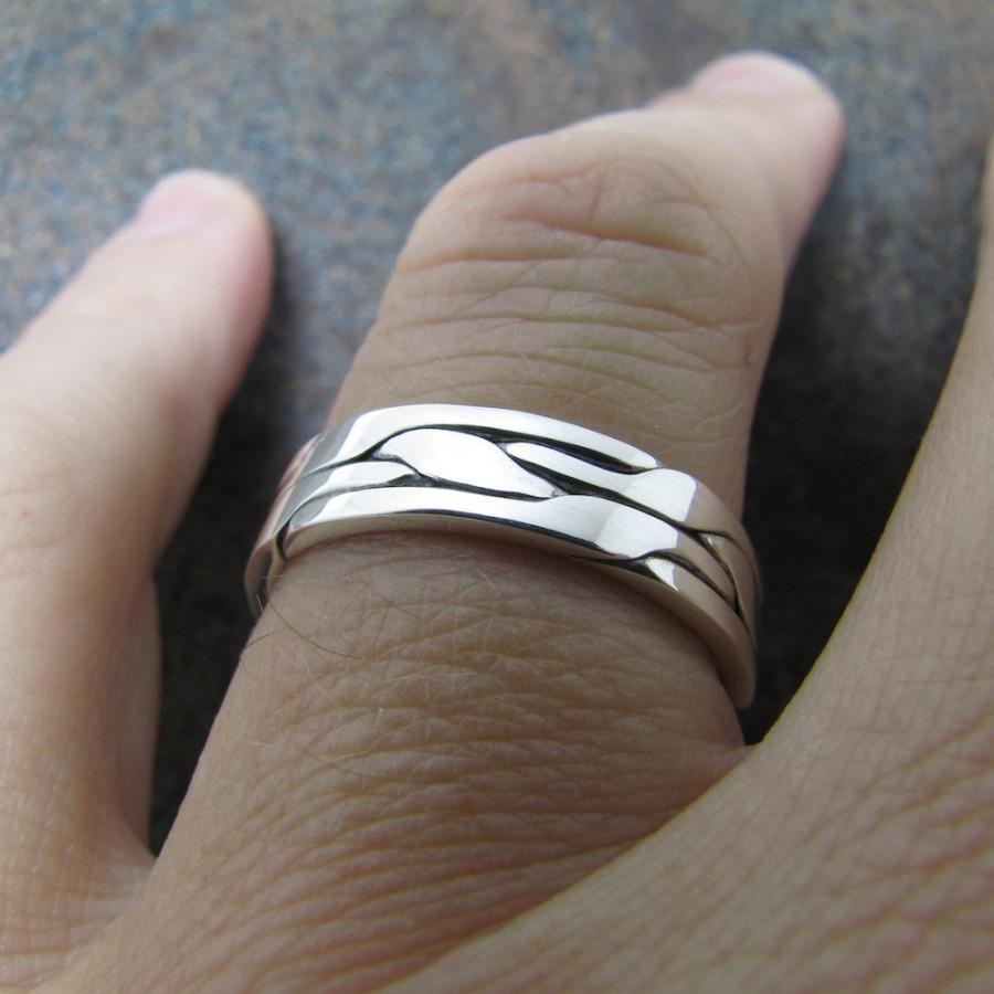 Свадьба - Mens Silver Ring Mens Wedding Band