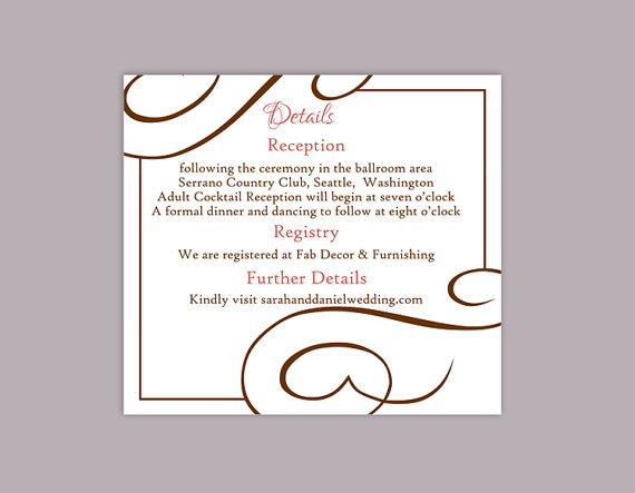 diy wedding details card template editable text word file download printable details card brown. Black Bedroom Furniture Sets. Home Design Ideas